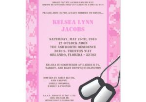 Army Camo Baby Shower Invitations 5×7 Pink Army Camo Acu Baby Shower Invitation