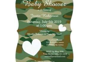 Army Camo Baby Shower Invitations Army Camo Baby Shower Invitations with Cute Hearts