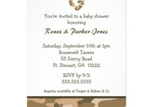 Army Camo Baby Shower Invitations Camo Army Brown Baby Feet Shower Invitation