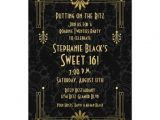 Art Deco Birthday Party Invitations Sweet 16 Birthday Invitation Roaring 20s Art Deco Zazzle