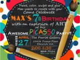 Art themed Birthday Party Invitation Wording A Picasso Inspired Boy S Art themed Birthday Party