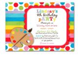 Art themed Birthday Party Invitations Art Birthday Party Invitation Bright Colors Custom for