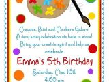Art themed Birthday Party Invitations Birthday Party themes Art themed Birthday Party
