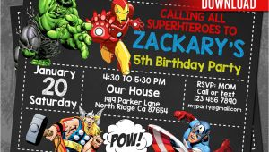Avengers Party Invitation Template Avengers Invitation Instant Download Avengers Invitations
