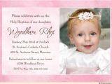 Baby Baptism Wording Invites Pink Baptism or Christening Invitation Sweet Baby S