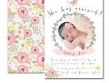 Baby Birth Party Invitation Wording Sweet Whimsical Floral Birth Announcement for Baby Girl