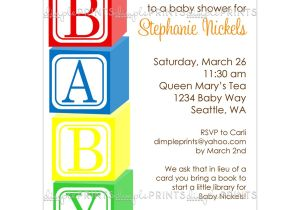 Baby Block Shower Invitations Baby Blocks Printable Shower Invitation Dimple Prints Shop