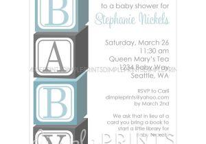 Baby Block Shower Invitations Baby Blocks Printable Shower Invitation Dimple Prints Shop