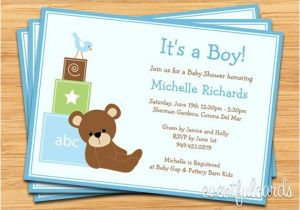 Baby Block Shower Invitations Blue Teddy Bear Baby Shower Invitation Baby Blocks and Bird