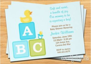 Baby Block Shower Invitations Boy Baby Shower Invitation Abc Blocks Duckie and Pacifier