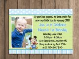 Baby Boy 1st Birthday Party Invitations Baby Mickey Mouse Boy 1st First Birthday by Periwinklepapery