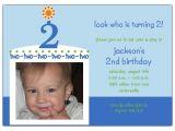 Baby Boy 2nd Birthday Invitation Wording Birthday Cake Boy Photo Second Birthday Invitations