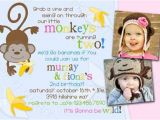 Baby Boy 2nd Birthday Invitation Wording Go Bananas Jungle Monkey Joint 2 Photo Any Age