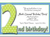 Baby Boy 2nd Birthday Invitation Wording Green Blue Polka Dots Boy 39 S 2nd Birthday Party Invitations