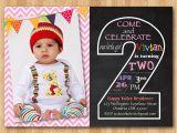 Baby Boy 2nd Birthday Invitation Wording Second Birthday Invitation Chalkboard 2nd Birthday Invite