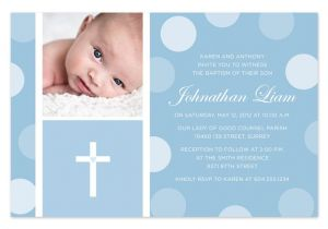 Baby Boy Baptism Invites Blue Baby Boy Baptism Christening Invitation by