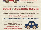 Baby Boy Race Car Shower Invitations Baby Boy Car and Truck Invitation Template