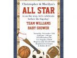 """Baby Boy Shower Invitations Sports theme Sports All Star Baby Shower Invitation 5"""" X 7"""" Invitation"""