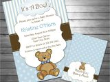 Baby Boy Shower Invitations with Teddy Bears Boy Teddy Bear Baby Shower Invitation Teddy Bear Thank You