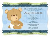 Baby Boy Shower Invitations with Teddy Bears Personalize Product