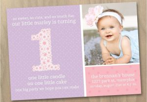 Baby First Birthday Party Invitation Wording Baby Girl First 1st Birthday Photo Invitation Pink and