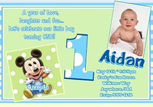 Baby First Birthday Party Invitation Wording Free Printable Mickey Mouse 1st Birthday Invitations