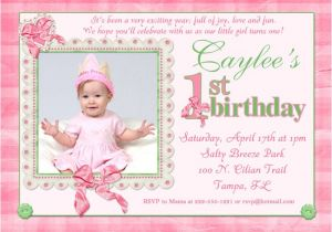 Baby First Birthday Party Invitation Wording Pink Baby Finery Birthday Invitation Hearts Ribbons Lace