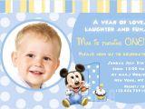 Baby Mickey 1st Birthday Personalized Invitations Baby First Birthday Invitations Bagvania Free Printable