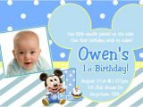 Baby Mickey 1st Birthday Personalized Invitations Baby Mickey 1st Birthday Invitation Baby Mickey Mouse