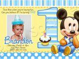 Baby Mickey 1st Birthday Personalized Invitations Baby Mickey First Birthday Invitations Drevio