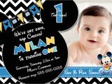 Baby Mickey 1st Birthday Personalized Invitations Baby Mickey Mouse 1st Birthday Invitations Mickey Mouse