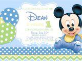 Baby Mickey 1st Birthday Personalized Invitations Baby Mickey Mouse 1st Birthday Photo Invitations