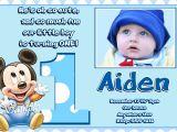 Baby Mickey 1st Birthday Personalized Invitations Jb21 Baby Mickey Mouse 1st Birthday Invitations