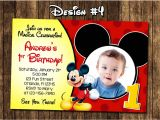 Baby Mickey 1st Birthday Personalized Invitations Mickey Mouse Baby First Birthday Party Photo Invitations