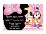 Baby Minnie Mouse First Birthday Invitations Baby Minnie Mouse First Birthday Party Invitation Printable