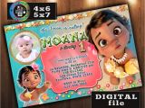 Baby Moana Birthday Invitation Template Baby Moana Birthday Invitation Custom by