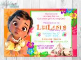 Baby Moana Birthday Invitation Template Baby Moana Birthday Invitation