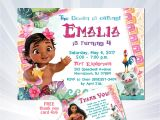 Baby Moana Birthday Invitation Template Moana Birthday Invitation Baby Moana Invitation Baby Moana