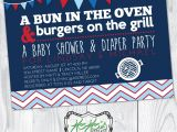 Baby Shower and Diaper Party Invitations Bun In the Oven Burgers On the Grill Baby Shower and