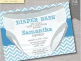 Baby Shower and Diaper Party Invitations Chevron Blue Diaper Bash Baby Shower Invitation by