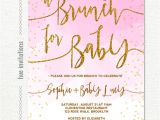 Baby Shower Brunch Invitation Wording Baby Shower Brunch Invitation Pink White Gold Glitter Omb