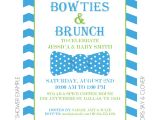 Baby Shower Brunch Invitation Wording Bowties and Brunch Invitation