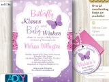 Baby Shower butterfly theme Invitations Purple butterfly Baby Shower Invitations Party Xyz