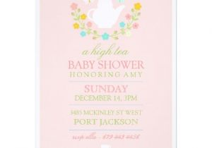 Baby Shower High Tea Invitation Wording Pink High Tea Baby Shower Invitation