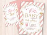 Baby Shower Invitations and Thank You Cards Pink and Gold Baby Shower Invitation Free Thank You Card