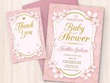 Baby Shower Invitations and Thank You Cards Printable Pink White Gold Baby Shower Invitations Free