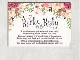 Baby Shower Invitations asking for Books Floral Books for Baby Insert Card Flower Baby Shower