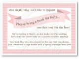 Baby Shower Invitations asking for Books Pink Baby Shower Book Insert Request Card for Girl