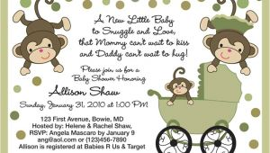Baby Shower Invitations Boy Monkey theme Baby Shower Invitations Free Printable Baby Shower Monkey