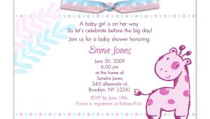 Baby Shower Invitations for Girls Wording Baby Shower Invitation Wording for A Girl